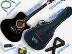 (Code:RQ61) coal black color acoustic guitar