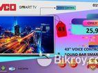 "43"" JVCO ভয়েস কন্ট্রোল টেকনোলজি 1 GB RAM METAL BODY+ SOUNDBAR TV"