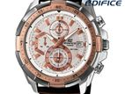 Casio Edifice Chronograph White Dial Brown Leather Band Men's Watch.