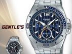 New Casio Brand Enticer Chronograph Blue Dial Silver Band Men's Watch