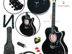 (CODE: fXG900) Black acoustic guitar with full accessories