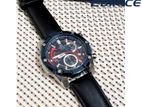 Casio Edifice Brand Gunmetal Dial Black Leather Band Men's Watch