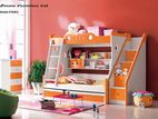 Orange and Offwhite Color Children Wooden Bed Model -JFW301