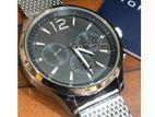 New Chronograph Quartz Black Dial Silver Color Mashchain Men's Watch.
