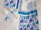 Women Adi Cotton Unstitch Block Print 3pcs