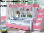 Off White and pink Color Children Wooden Bed Model -JFW300