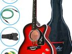 (Code: RQ81) Fully red color electrick acoustic spaninsh guitar
