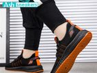 Casual Sneakers for Men - Black & Orange