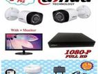 """CCTV Package Dahua 4-CH 2-Pcs Camera with 17"""" Monitor"""