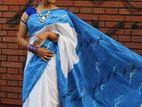 Half silk Tuli Hand print saree
