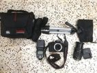 Canon 600D with 18-105mm lens and External flash