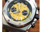 Latest Divers Automatic Yellow Dial Rubber Band Men's Watch.