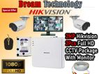 2MP 2 Hikvision HD CCTV Camera Package with Monitor Special Offer