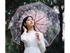 New Korean Fresh Romantic Sakura Triple Folding Clear Umbrella