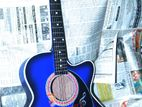 INT-38C Blue Acoustic Guitar with bag,picks, electgric system