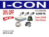 ঈদ অফার CC Camera 3 Pcs Package HIKVISION HD+Free 32GB Pendrive